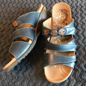 Romika Navy Blue Wedge Sandals, Size 10